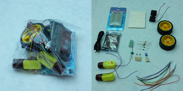 The RoboSlam robot kit shown in bag and then laid out on table